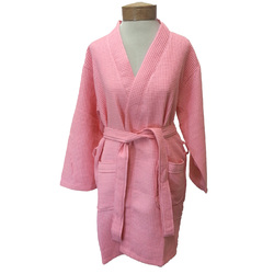 Women's Knee Length Square Waffle Kimono Robe - Pink 65% Natural Cotton and 35% Polyester (2WK9XPI)
