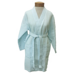 Women's Knee Length Square Waffle Kimono Robe - Sky Blue 65% Natural Cotton and 35% Polyester (2WK9XSB)