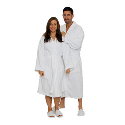 Terry Kimono Robe - White 100% Cotton Terry Cloth Inside & Outside (2TKXXWH)