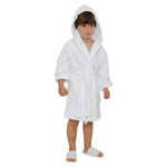 Kid's Terry Hooded Robe - White 100% Cotton Terry Cloth Inside & Outside (2KTXXWH)