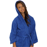 Kid's Terry Hooded Robe - Royal Blue 100% Cotton Terry Cloth Inside & Outside (2KTXXRY)
