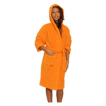 Kid's Terry Hooded Robe - Orange 100% Cotton Terry Cloth Inside & Outside (2KTXXOR)