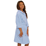Kid's Velour Hooded Robe - Sky Blue 100% Cotton Terry Cloth Inside & Velour Outside (2KVXXSB)