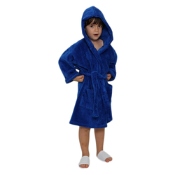 Kid's Velour Hooded Robe - Royal Blue 100% Cotton Terry Cloth Inside & Velour Outside (2KVXXRY)