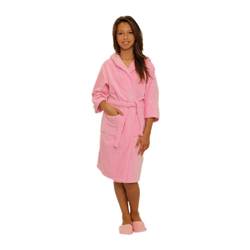 Kid's Velour Hooded Robe - Pink 100% Cotton Terry Cloth Inside & Velour Outside (2KVXXPI)