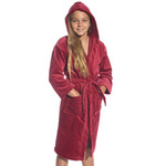Kid's Velour Hooded Robe - Burgundy 100% Cotton Terry Cloth Inside & Velour Outside (2KVXXBG)