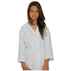 Kid's Waffle Hooded Robe - White 100% Cotton Waffle Cloth Inside & Outside (2KWXXWH)