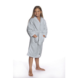 Kid's Waffle Hooded Robe - Sky Blue 100% Cotton Waffle Cloth Inside & Outside (2KWXXSB)