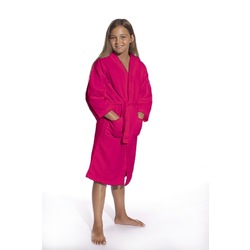 Kid's Waffle Hooded Robe - Fuchsia 100% Cotton Waffle Cloth Inside & Outside (2KWXXFC)
