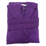 Kid's Waffle Hooded Robe - Purple 100% Cotton Waffle Cloth Inside & Outside (2KWXXPR)