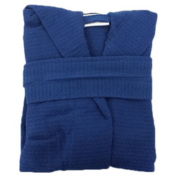 Kid's Waffle Hooded Robe - Navy 100% Cotton Waffle Cloth Inside & Outside (2KWXXNV)