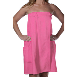Women's Terry Velour Spa Body Wrap Towels with Pocket - Pink 100% Cotton Terry Cloth Inside & Terry Velour Outside (4BWXXPI)