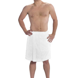 Men's Terry Velour Spa Body Wrap Towels with Pocket - White 100% Cotton Terry Cloth Inside & Terry Velour Outside (4BW70WH)