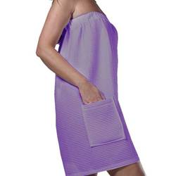 Women's Waffle Bath Wrap Towels with Pocket - Lilac 65% Natural Cotton 35% Polyester (4BWXXLI)