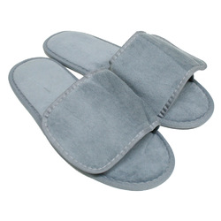 Unisex Open Toe Velour Velcro Slippers - Cool Gray 100% Absorbent Top Quality Natural Cotton (3VV10CG)