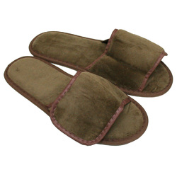 Unisex Open Toe Velour Velcro Slippers - Dark Chocolate 100% Absorbent Top Quality Natural Cotton (3VV10DC)