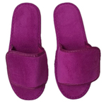 Unisex Open Toe Velour Velcro Slippers - Plum 100% Absorbent Top Quality Natural Cotton (3VV10PL)
