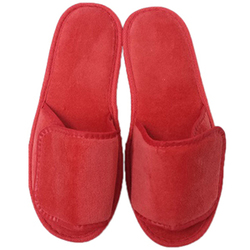 Unisex Open Toe Velour Velcro Slippers - Red 100% Absorbent Top Quality Natural Cotton (3VV10RE)