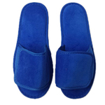 Unisex Open Toe Velour Velcro Slippers - Royal Blue 100% Absorbent Top Quality Natural Cotton (3VV10RY)