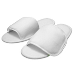 Unisex Open Toe Velour Velcro Slippers - White 100% Absorbent Top Quality Natural Cotton (3VV10WH)