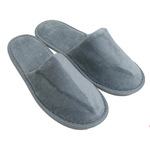 Unisex Closed Toe Terry Velour Slippers - Cool Gray 100% Cotton Terry Velour (3TV20CG)