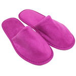 Unisex Closed Toe Terry Velour Slippers - Plum 100% Cotton Terry Velour (3TV20PL)