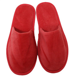Unisex Closed Toe Terry Velour Slippers - Red 100% Cotton Terry Velour (3TV20RE)