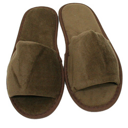 Unisex Open Toe Terry Velour Slippers - Dark Chocolate 100% Cotton Terry Velour (3TV10DC)