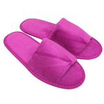 Unisex Open Toe Terry Velour Slippers - Plum 100% Cotton Terry Velour (3TV10PL)
