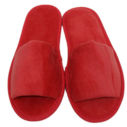 Unisex Open Toe Terry Velour Slippers - Red 100% Cotton Terry Velour (3TV10RE)