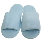 Unisex Open Toe Terry Velour Slippers - Sky Blue 100% Cotton Terry Velour (3TV10SB)