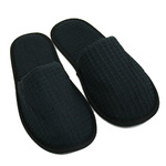 Unisex Closed Toe Waffle Slippers - Black 65% Natural Cotton and 35% Polyester (3WF20BK)