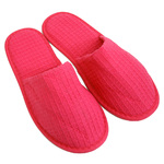 Unisex Closed Toe Waffle Slippers - Fuchsia 65% Natural Cotton and 35% Polyester (3WF20FC)