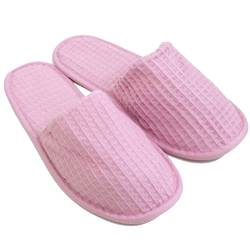 Unisex Closed Toe Waffle Slippers - Pink 65% Natural Cotton and 35% Polyester (3WF20PI)