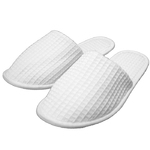 Unisex Closed Toe Waffle Slippers - White 65% Natural Cotton and 35% Polyester (3WF20WH)