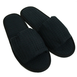 Unisex Open Toe Waffle Slippers - Black 65% Natural Cotton and 35% Polyester (3WF10BK)