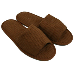 Unisex Open Toe Waffle Slippers - Brown 65% Natural Cotton and 35% Polyester (3WF10BR)