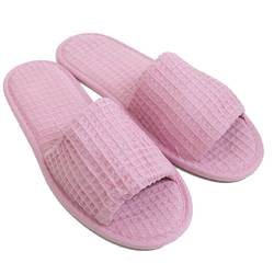Unisex Open Toe Waffle Slippers - Pink 65% Natural Cotton and 35% Polyester (3WF10PI)