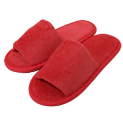 Kid's Open Toe Terry Velour Slippers - Red 100% Absorbent Top Quality Natural Cotton (3KV11RE)