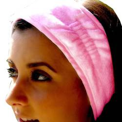 Terry Velour Headbands With Velcro - Pink 100% Cotton Terry Velour 1 Dozen (5HB10PI)