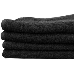 "Salon Towel - 1 Dozen - 16"" x 27"" - Black 100% Natural Cotton (1ST10BK)"
