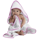 "Hooded Baby Towel Pink Piping - 30"" X 30"" 100% Soft Cotton Terry Cloth (7BT10PI)"