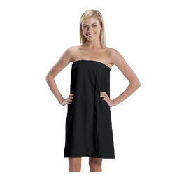 Women's Microfiber Bath Wrap Towel - Black 65% Natural Cotton 35% Polyester (4BW30BK)