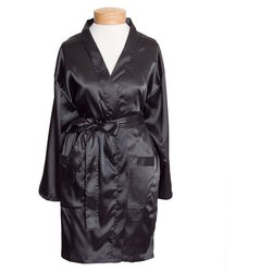 "Women's Short Satin Kimono Robe - Black 36"" Long (11STXXBK)"