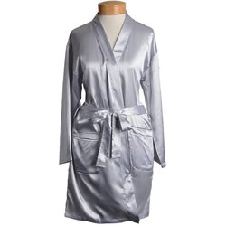 "Women's Short Satin Kimono Robe - Grey 36"" Long (11STXXGR)"