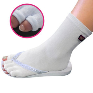 Pedisavers Individual Toe Pedicure Socks White Anklet (PediSavers-AWT-003)