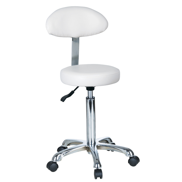 "Maia+ Round Hydraulic Stool with Backrest 20""-26"" Height (1023AB2)"