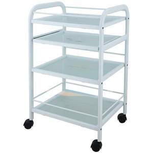 Dalia 4 Shelf Metal and Glass Trolley (1015)