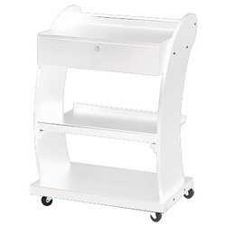 Aria Curved Beauty Trolley with Locking Drawer and 3 Shelves - White (1018B)