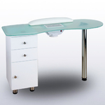 Atalia Glass Topped Manicure Table - Single Column (60001A)